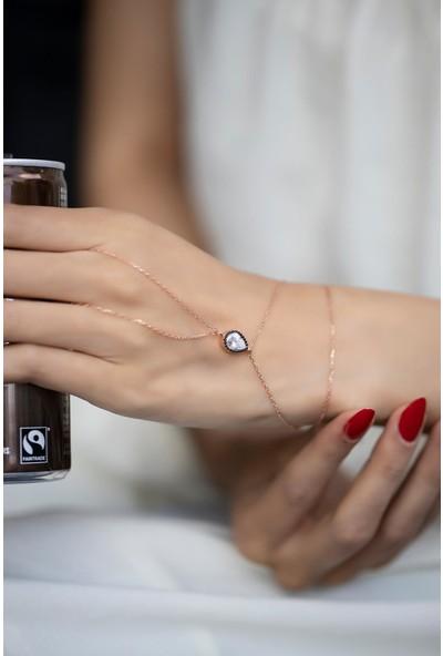 İzla Design Damla Model Montürlü Zirkon Taşlı Rose Kaplama Gümüş Şahmeran