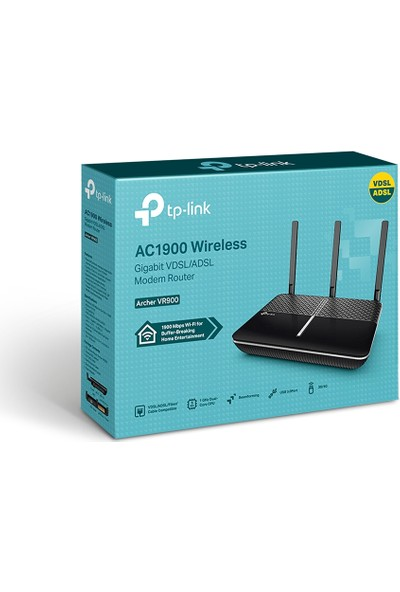 TP-LINK Archer VR900 1900Mbps Gigabit VDSL/ADSL2+ Modem/Router,Dual Band, EWAN, VPN, Ebeveyn Kontrolü, 2 USB 3.0 Port, Çift Çekirdek CPU,Beamforming Teknolojisi, Tether Mobil Uygulama Desteği
