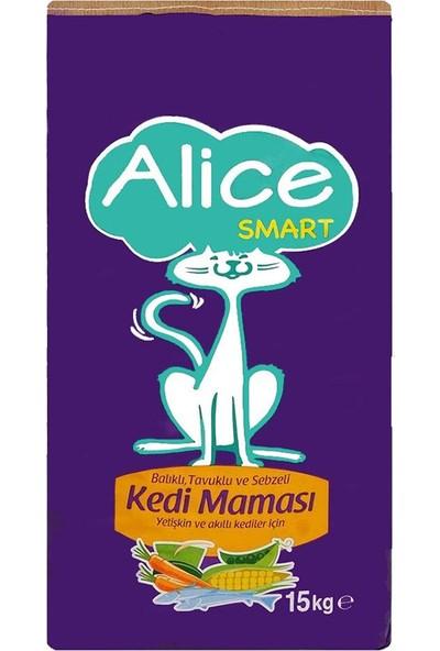 Alice Smart Balıklı, Tavuklu, Sebzeli Besleyici Kedi Maması 15 Kg