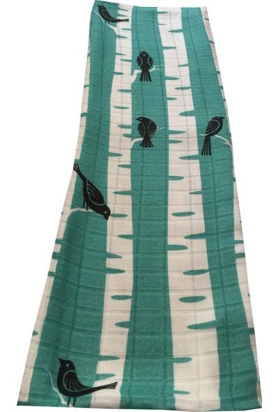 Ecottonworks Yeşil Kuşlu Müslin Bebek Örtüsü