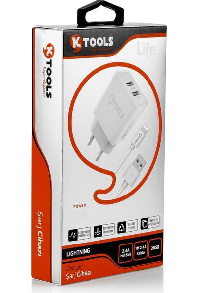 Ktools Life Çift Giriş Şarz Cihazı 2.4A 12W Hızlı Şarj Adaptör ve Lightning Kablo