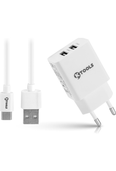 Ktools Life Çift Seyahat Şarj Cihazı 2.4A 12W Hızlı Şarj Adaptör ve Type-C Kablo