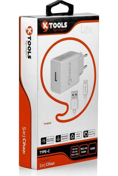 Ktools Life Tek Seyahat Şarj Cihazı 2.4A 12W Hızlı Şarj Adaptör ve Type-C Kablo