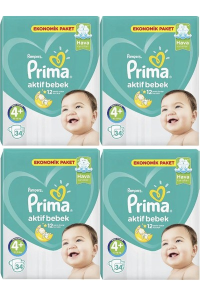 Prima Aktif Bebek Bezi Ekonomik Paket 4+ Numara 34 x 4= 136' lı