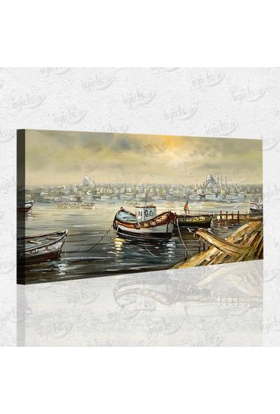 İyi Olsun Eski İstanbul ve Kayıklar Manzarası Kanvas Tablo