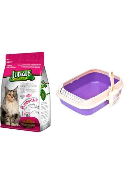 Jungle Sterilised Kısırlaştırılmış Somonlu Kedi Maması 1,5 kg + Lüks Krax Kedi Tuvaleti