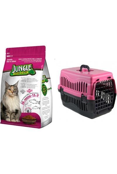 Jungle Sterilised Kısırlaştırılmış Somonlu Kedi Maması 1,5 kg + Pet Style Taşıma Çantası 49 cm Pembe