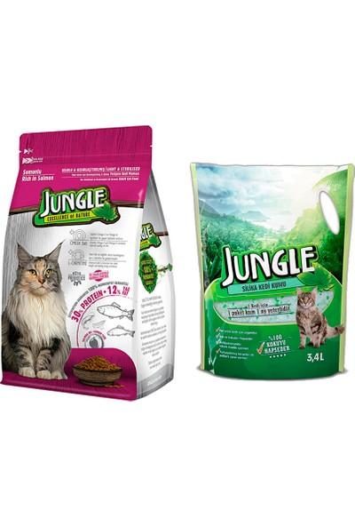 Jungle Sterilised Kısırlaştırılmış Somonlu Kedi Maması 1,5 kg + Jungle Silica Kristal Kedi Kumu 3,4 l.