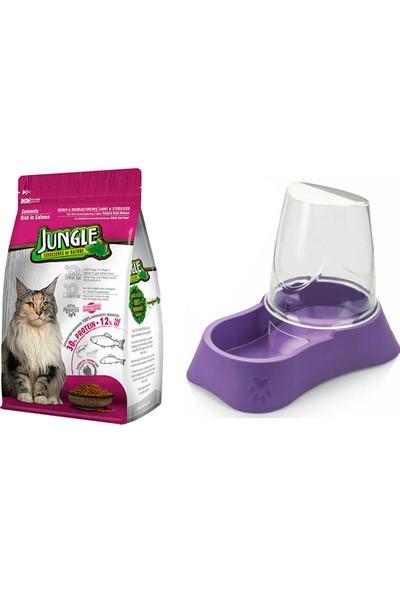 Jungle Sterilised Kısırlaştırılmış Somonlu Kedi Maması 1,5 kg + Evohe Mama Kabı