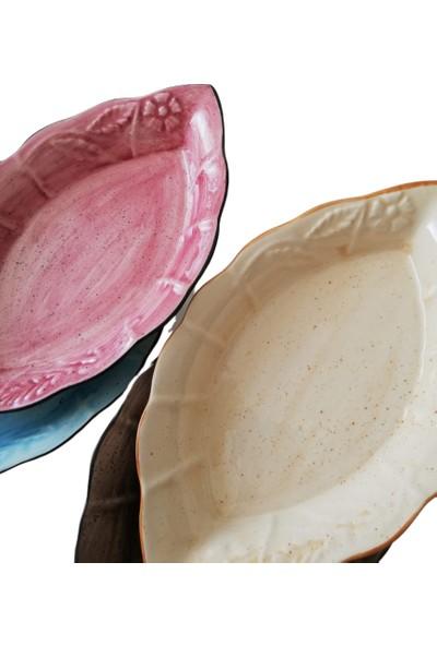 Evanilife 1 Adet Çiçekli Dalga Model Somon Renk Oval Kayık Tabak