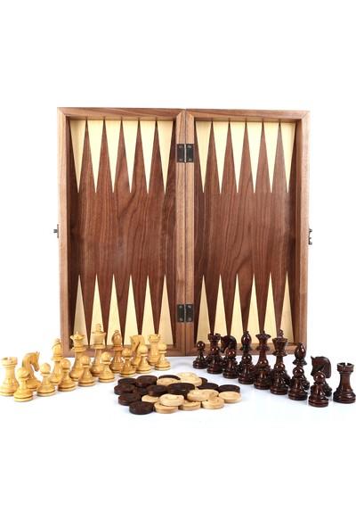 Pusula Oyun El Yapımı Masif Büyük Boy Damalı Tavla ve Satranç Takımı Seti (Şimşir Satranç ve Pullar)
