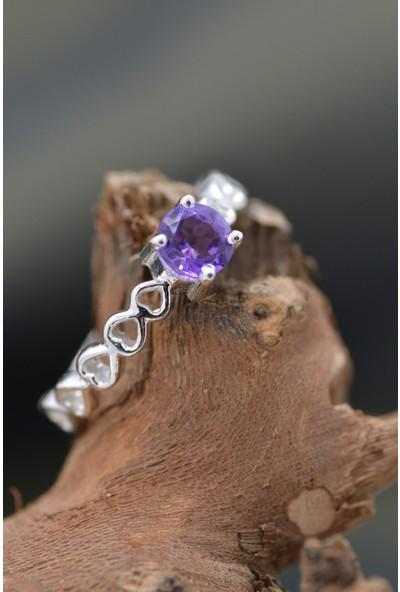Masif Mücevherat Doğal Ametist Taşlı Gümüş Yüzük 19MDT5153