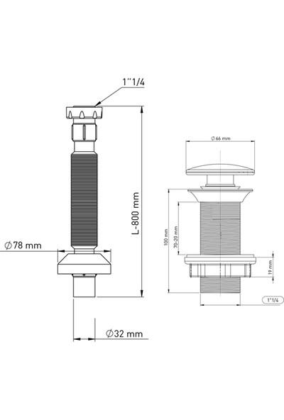 İz Yapı Klick Klack Taşmasız Bas Aç Metal Lavabo Sifonu