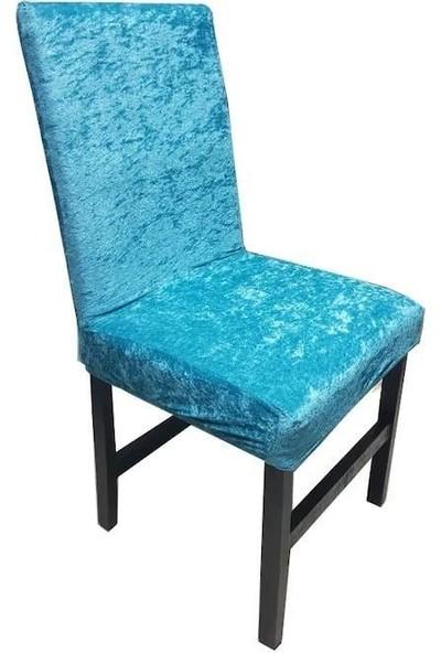 Bella Home Sandalye Kılıfı Kadife Turkuaz 6 Adet