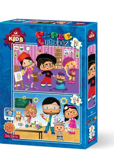 Art Çocuk Puzzle Pepe Mesleğini Seçiyor 12+24 Parça Puzzle
