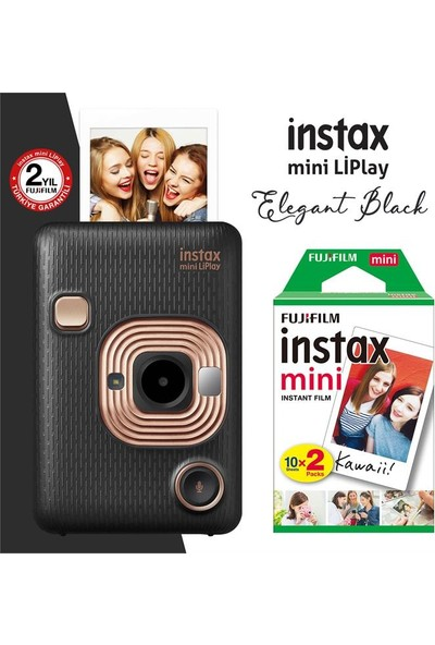 Instax Mini Liplay Hybrid Elegant Black Fotoğraf Makinesi 20'li Mini Film