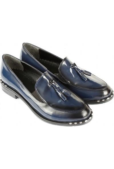 Gön Kadın Ayakkabı 37103 Lacivert Rugan