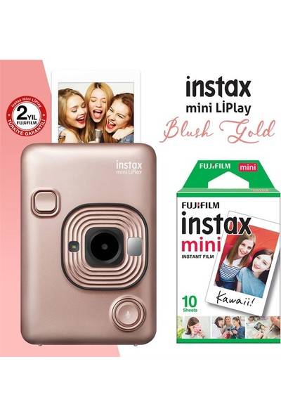 Instax Mini Liplay Hybrid Blush Gold Fotoğraf Makinesi 10LU Mini Film