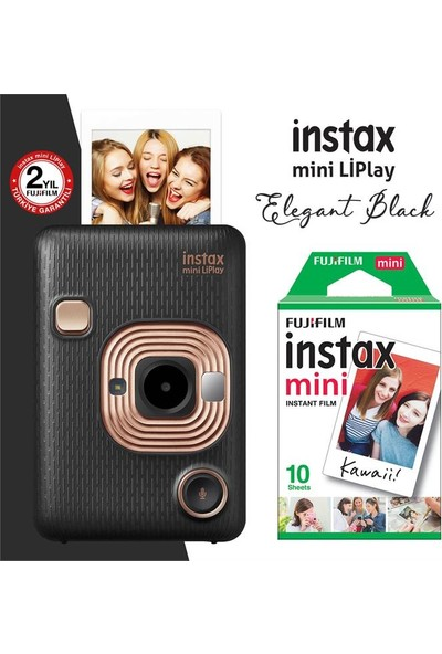 Instax Mini Liplay Hybrid Elegant Black Fotoğraf Makinesi 10'lu Mini Film