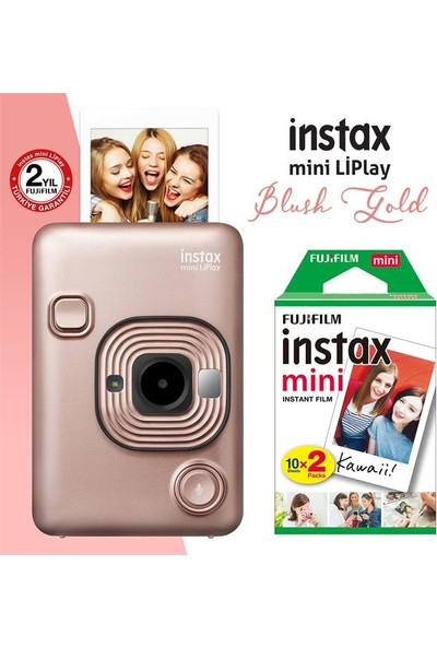 Instax Mini Liplay Hybrid Blush Gold Fotoğraf Makinesi 20'li Mini Film