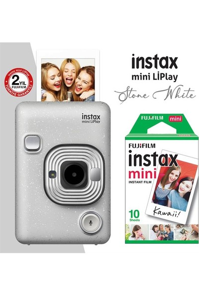 Instax Mini Liplay Hybrid Stone White Fotoğraf Makinesi 10'lu Mini Film