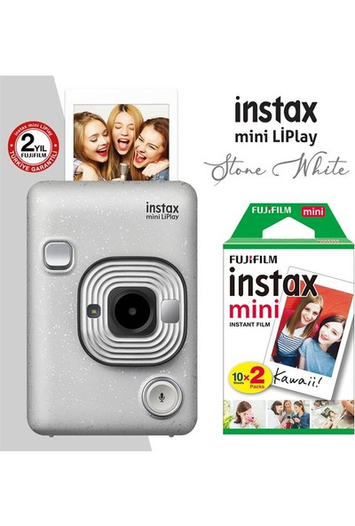 Instax Mini Liplay Hybrid Stone White Fotoğraf Makinesi 20LI Mini Film