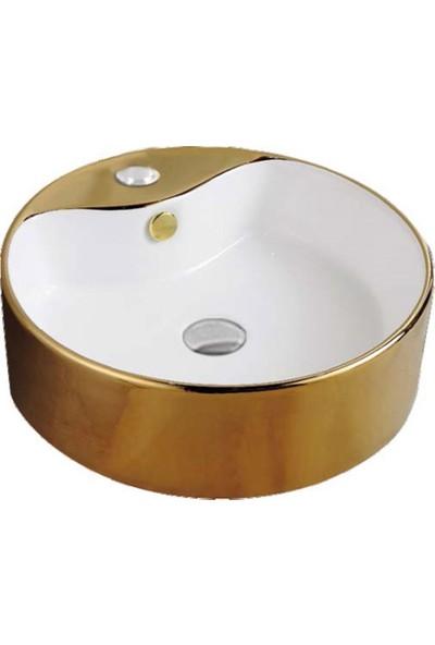Euroser ® IH-211-G Tezgah Üstü Altın Dekorlu Çanak Lavabo