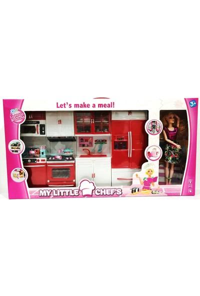 Kayyum Oyuncak My Lıttle Chefs 4'lü Eklemli Et Bebek ve Mutfak Seti Pembe