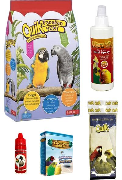 Quik Papağan Jako Gri Amazon Yem ve Bakım Seti 750 g