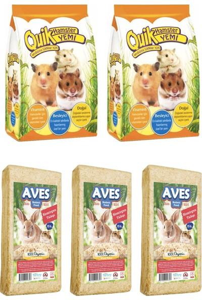 Quik Hamster Yemi 500 g 2 Adet - Kemirgen Talaşı 3 Adet
