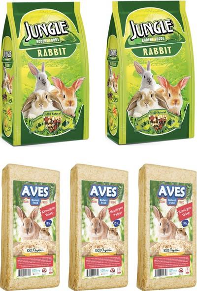 Jungle Tavşan Yemi 500 g 2 Adet - Kemirgen Talaşı 3 Adet