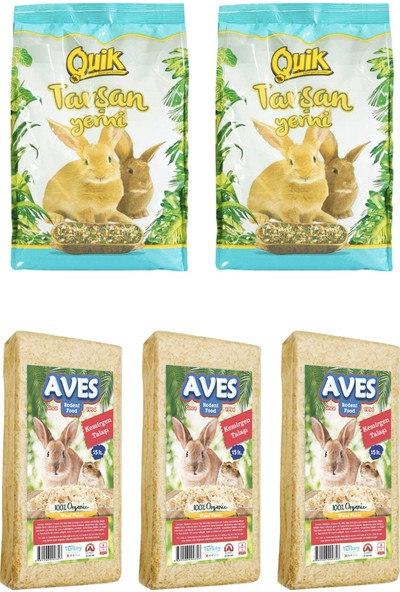 Quik Tavşan Yemi 750 g 2 Adet - Kemirgen Talaşı 3 Adet