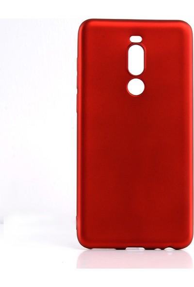 Happyshop Meizu Note 8 Kılıf Ultra İnce Mat Silikon + Cam Ekran Koruyucu Kırmızı