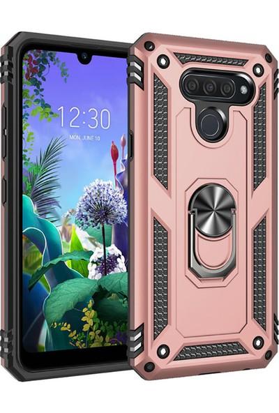 Happyshop LG Q60 Kılıf Ultra Korumalı Yüzüklü Standlı Manyetik Vega Kapak + Nano Cam Ekran Koruyucu Rose Gold