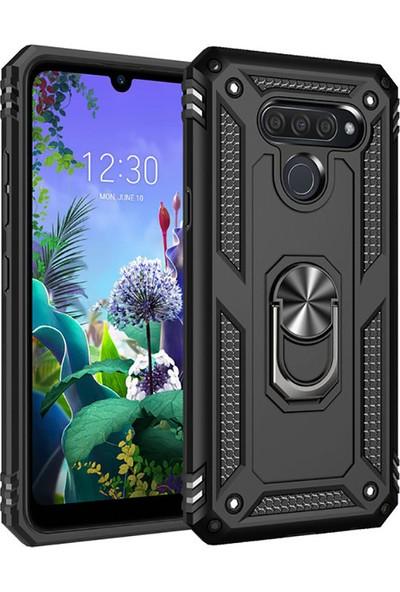 Happyshop LG Q60 Kılıf Ultra Korumalı Yüzüklü Standlı Manyetik Vega Kapak + Cam Ekran Koruyucu Siyah
