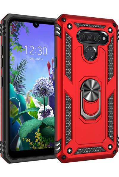 Happyshop LG Q60 Kılıf Ultra Korumalı Yüzüklü Standlı Manyetik Vega Kapak + Cam Ekran Koruyucu Kırmızı
