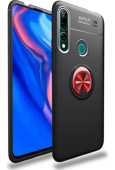Happyshop Huawei P Smart Z Kılıf Ultra Korumalı Yüzüklü Ravel Silikon + Cam Ekran Koruyucu Karışık