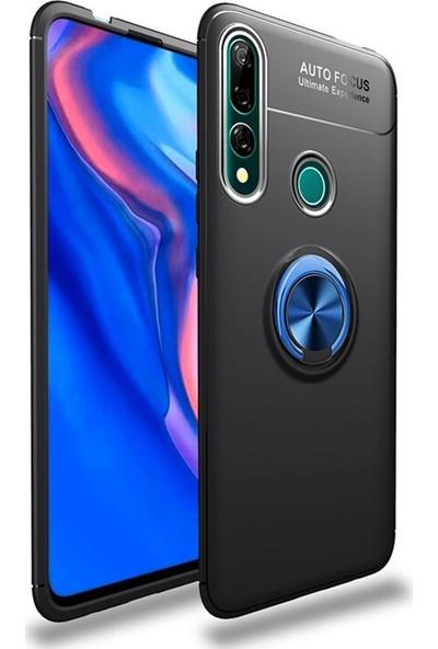 Happyshop Huawei P Smart Z Kılıf Ultra Korumalı Yüzüklü Ravel Silikon + Cam Ekran Koruyucu Mavi