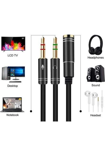 Oem Kulaklık Mikrofon Ayırıcı Y Kablo 3.5 mm Dişi To 2 x 3.5 mm Erkek