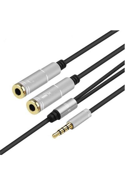 Oem Mikrofonlu Kulaklık Birleştirici Kablo 3.5 mm Erkek To 2x 3.5 mm Dişi
