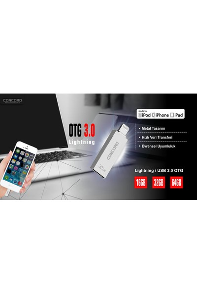 Concord C-OTGL Otg Lightning 16GB USB 3.0 Flash Bellek