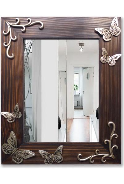 Tahta Dekor Gümüş Renk Kelebek Rölyefli Ahşap Ayna