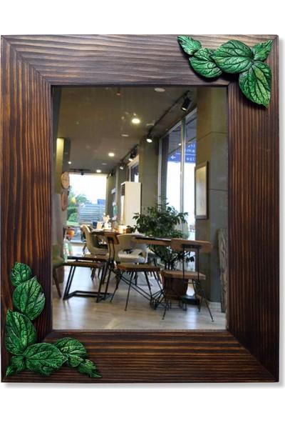 Tahta Dekor Yeşil Yaprak Rölyefli Masif Ahşap Ayna