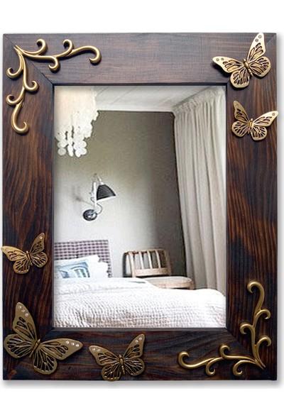 Tahta Dekor Altın Renk Kelebek Rölyefli Ahşap Ayna