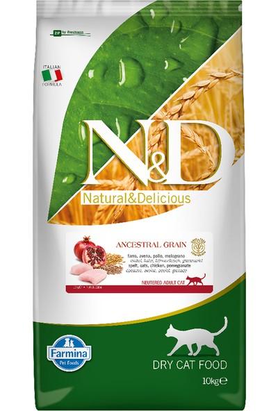 N&D Düşük Tahıllı Tavuklu Narlı Kısırlaştırılmış Kedi Maması 10Kg