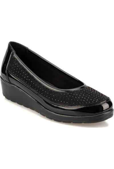 Travel Soft Trv920053 Siyah Kadın Dolgu Topuk Ayakkabı