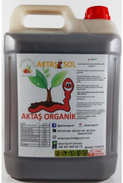 Aktaşsol Organik Konsantre Sıvı Solucan Gübresi 5 lt