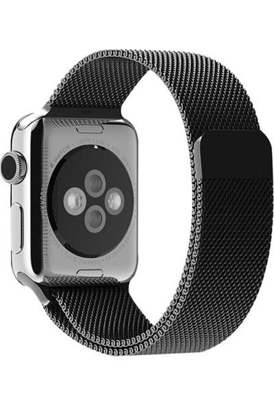 Quse Apple Watch Milano Loop Mıknatıslı Çelik Örme Kordon 44 mm Siyah