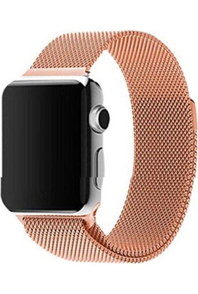 Quse Apple Watch Milano Loop Mıknatıslı Çelik Örme Kordon 44 mm Rose Gold
