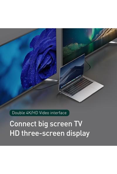 Baseus CATSX-G0G 11 In 1 Enjoyment Series Type-C Notebook Hub Adapter Gray (PD/HDMI/VGA/RJ45/SD/USB*3) Adaptör Çoklayıcı